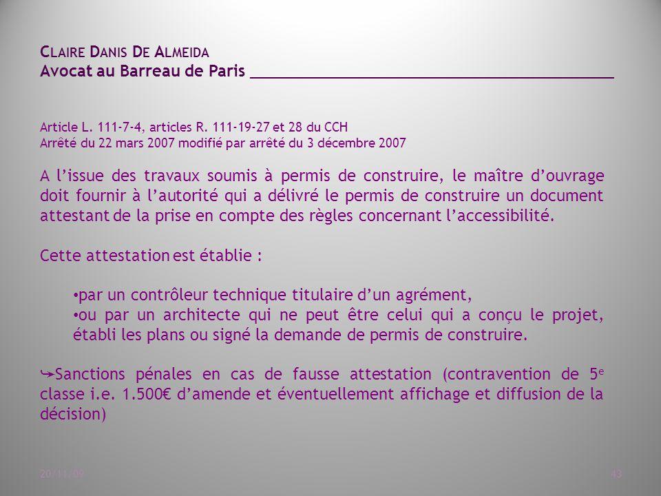 Article L. 111-7-4, articles R. 111-19-27 et 28 du CCH. Arrêté du ...