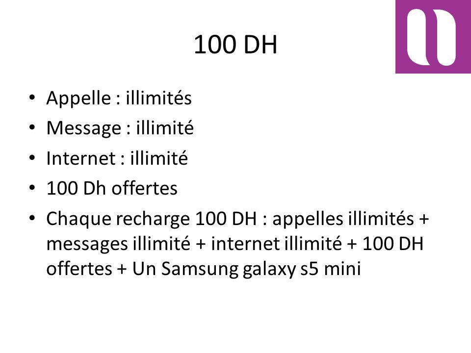 100 DH Appelle : illimités Message : illimité Internet : illimité