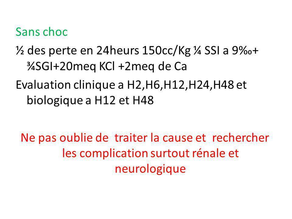 Sans choc ½ des perte en 24heurs 150cc/Kg ¼ SSI a 9‰+ ¾SGI+20meq KCl +2meq de Ca Evaluation clinique a H2,H6,H12,H24,H48 et biologique a H12 et H48 Ne pas oublie de traiter la cause et rechercher les complication surtout rénale et neurologique