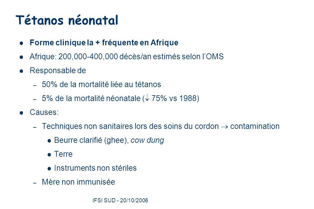 Tétanos néonatal Forme clinique la + fréquente en Afrique