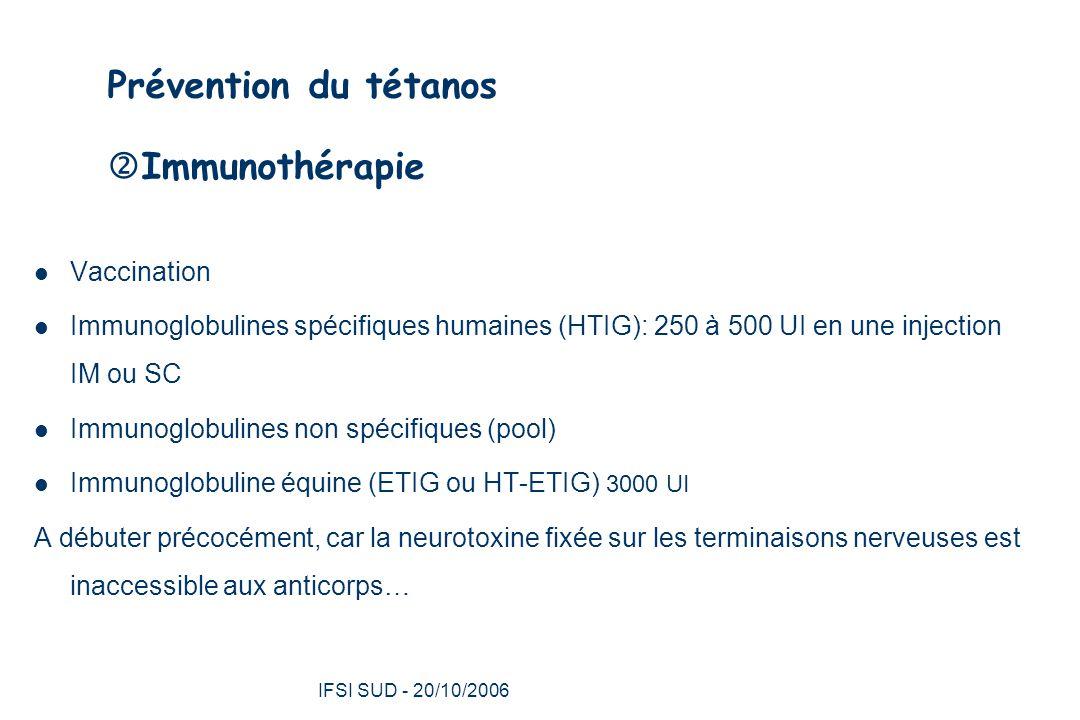 Prévention du tétanos Immunothérapie