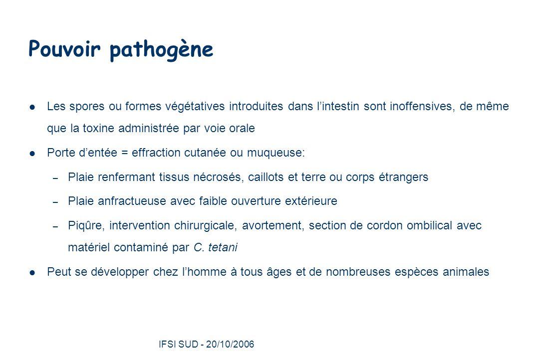 Pouvoir pathogène Les spores ou formes végétatives introduites dans l'intestin sont inoffensives, de même que la toxine administrée par voie orale.