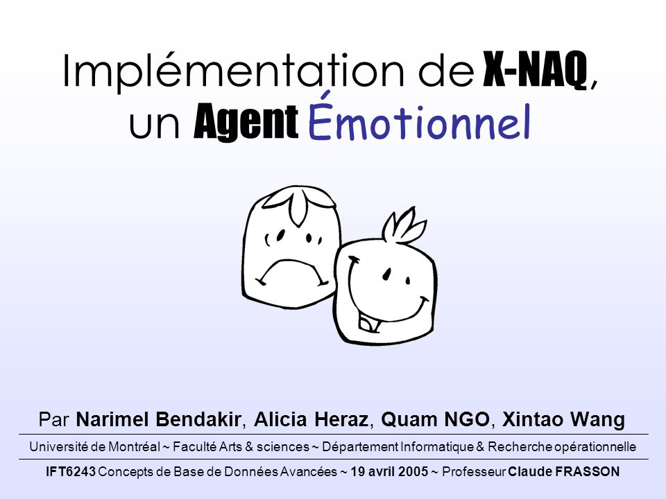 Implémentation de X-NAQ, un Agent Émotionnel