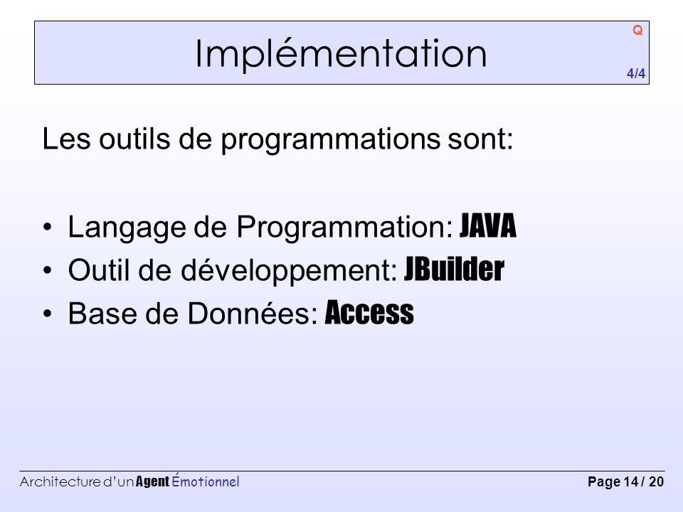 Implémentation Les outils de programmations sont: