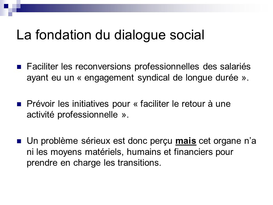 La fondation du dialogue social