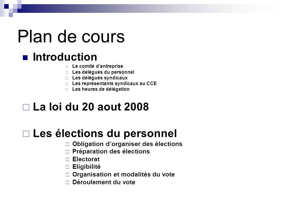 Plan de cours Introduction La loi du 20 aout 2008