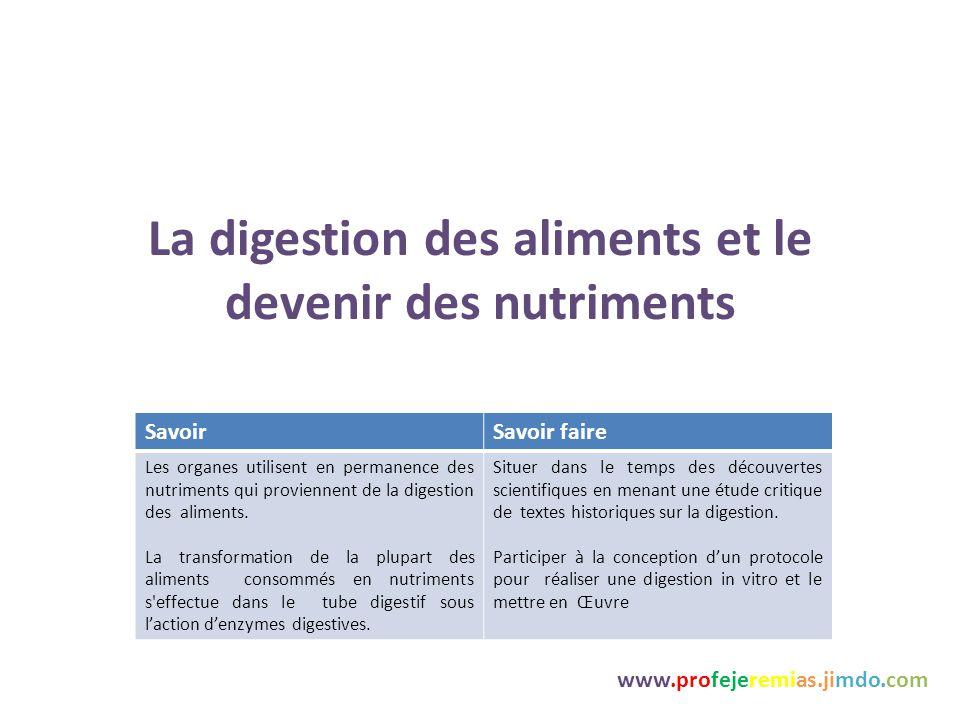 La digestion des aliments et le devenir des nutriments