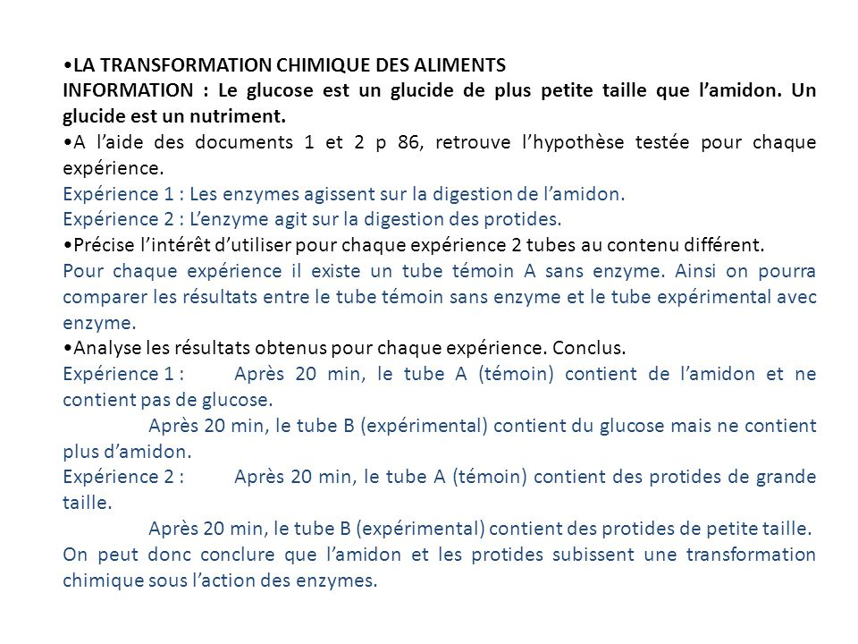 LA TRANSFORMATION CHIMIQUE DES ALIMENTS