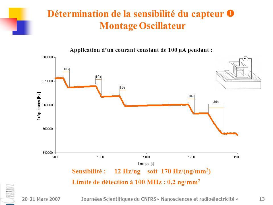 Détermination de la sensibilité du capteur  Montage Oscillateur