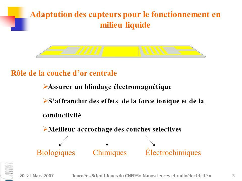 Adaptation des capteurs pour le fonctionnement en milieu liquide