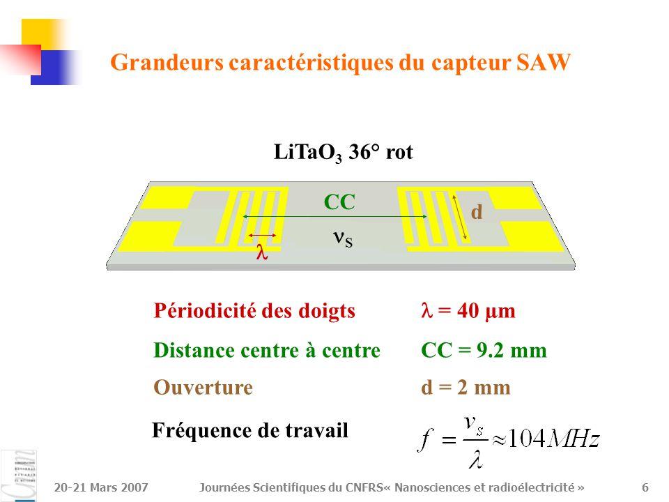 Grandeurs caractéristiques du capteur SAW