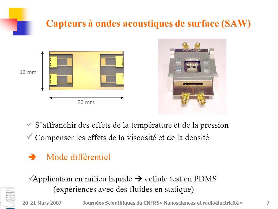 Capteurs à ondes acoustiques de surface (SAW)