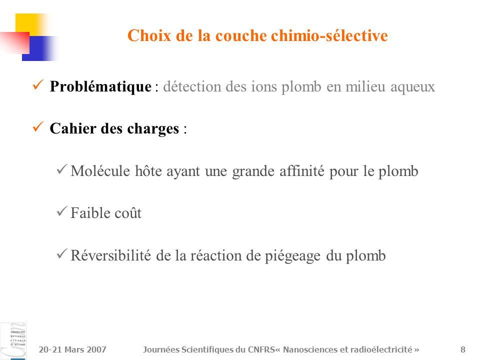 Choix de la couche chimio-sélective