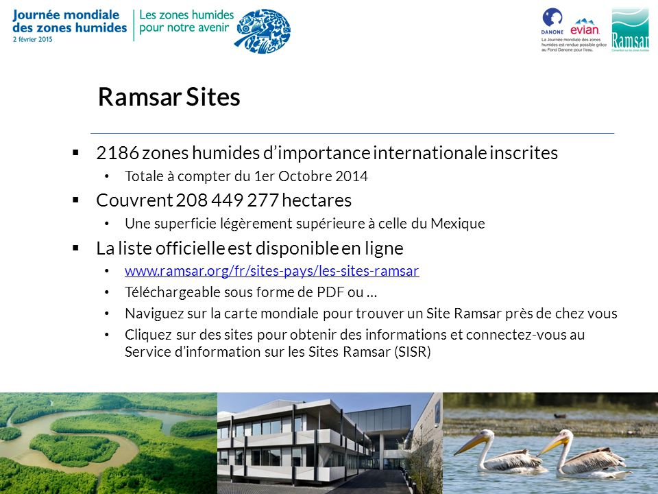 Ramsar Sites 2186 zones humides d'importance internationale inscrites