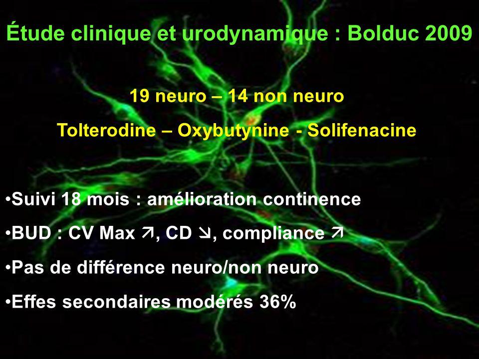 Étude clinique et urodynamique : Bolduc 2009