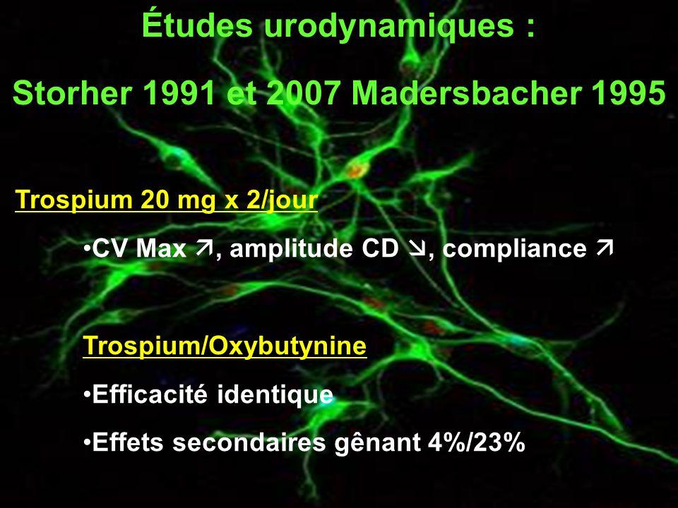 Études urodynamiques : Storher 1991 et 2007 Madersbacher 1995