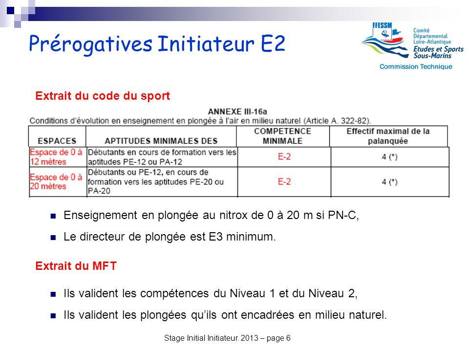 Prérogatives Initiateur E2