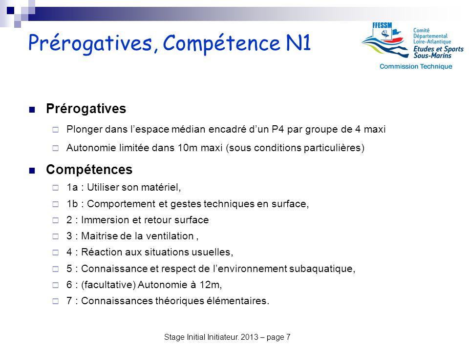 Prérogatives, Compétence N1