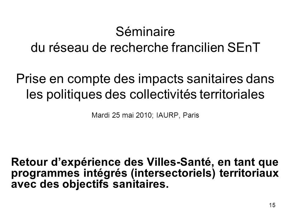 Séminaire du réseau de recherche francilien SEnT Prise en compte des impacts sanitaires dans les politiques des collectivités territoriales Mardi 25 mai 2010; IAURP, Paris