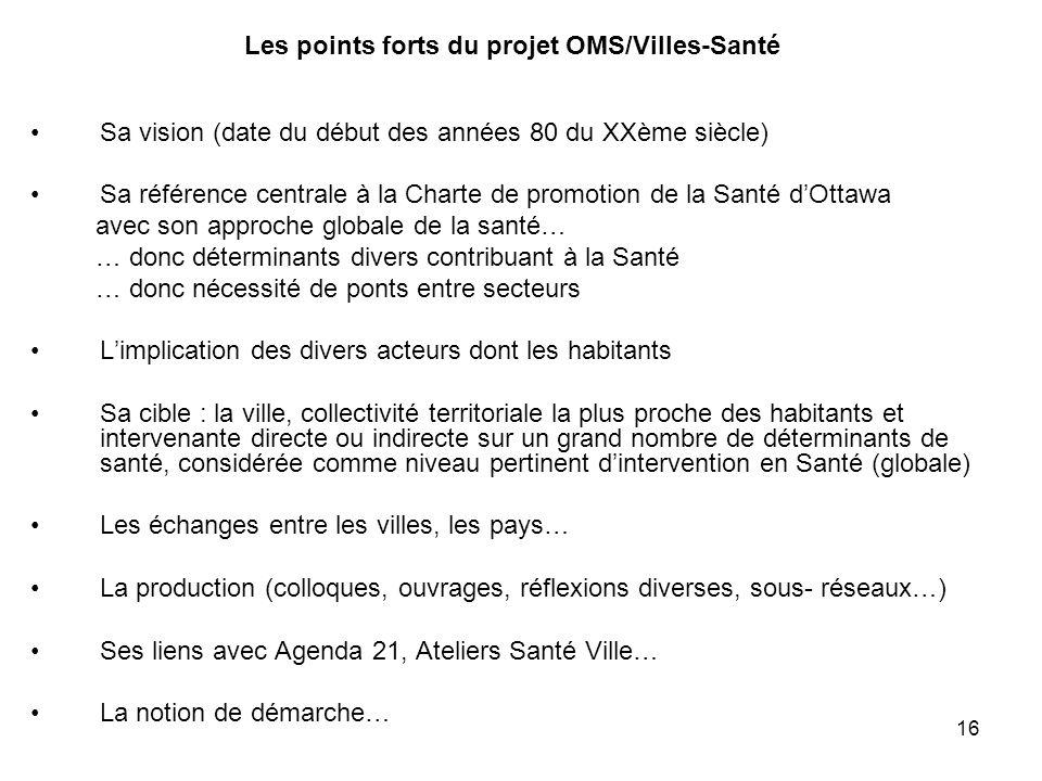 Les points forts du projet OMS/Villes-Santé