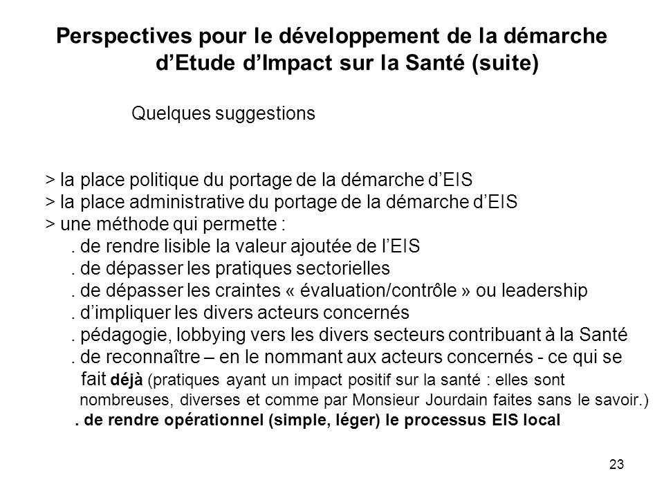 Perspectives pour le développement de la démarche d'Etude d'Impact sur la Santé (suite)