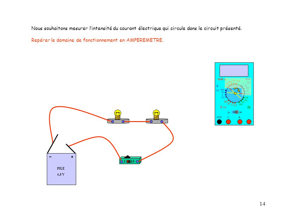 Nous souhaitons mesurer l'intensité du courant électrique qui circule dans le circuit présenté.
