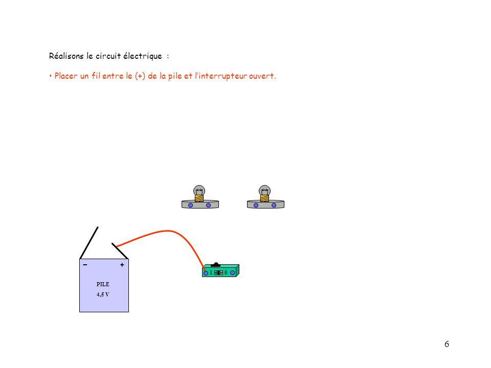 - Réalisons le circuit électrique :