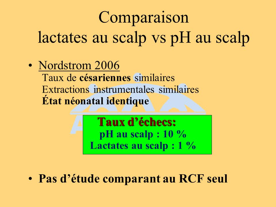Comparaison lactates au scalp vs pH au scalp