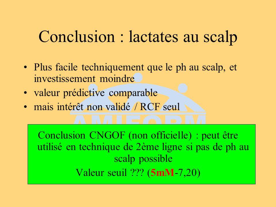 Conclusion : lactates au scalp