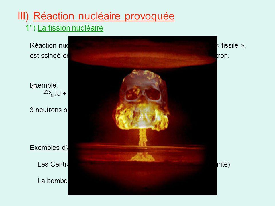 III) Réaction nucléaire provoquée