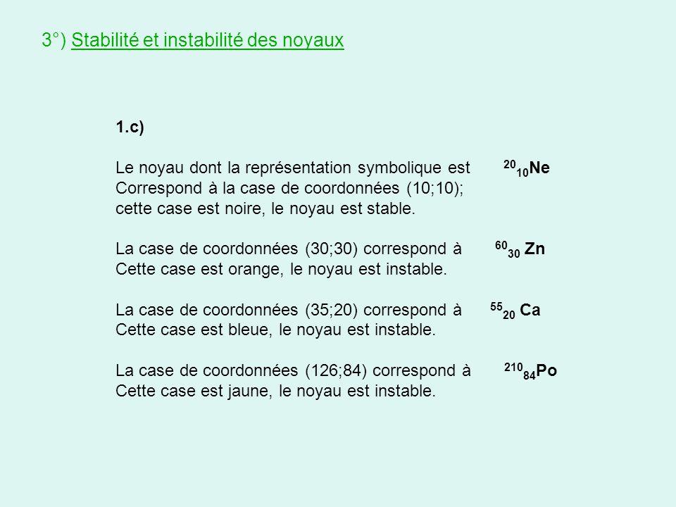 3°) Stabilité et instabilité des noyaux