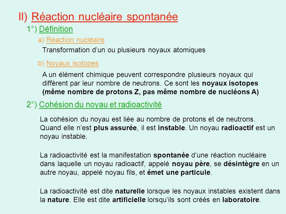 II) Réaction nucléaire spontanée