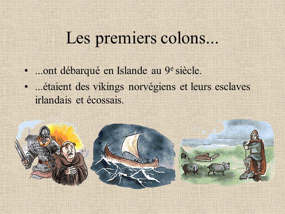 Les premiers colons... ...ont débarqué en Islande au 9e siècle.