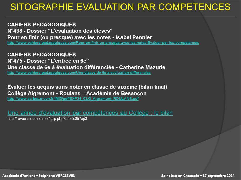 SITOGRAPHIE EVALUATION PAR COMPETENCES