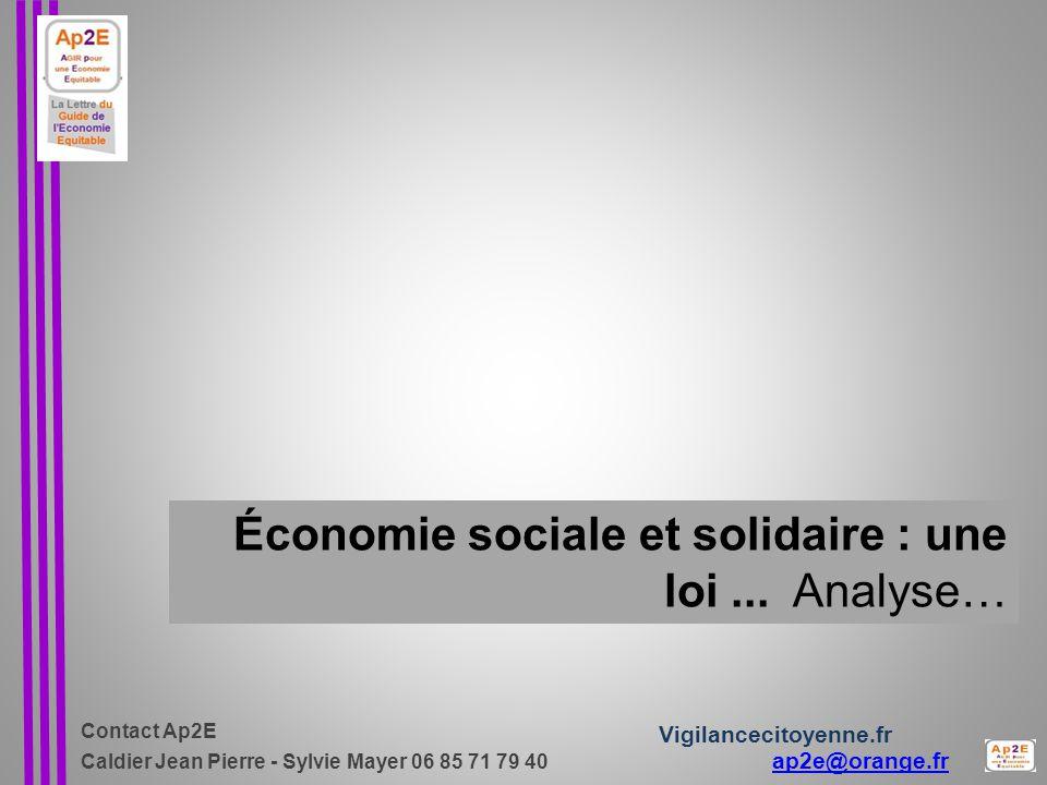 Économie sociale et solidaire : une loi ... Analyse…