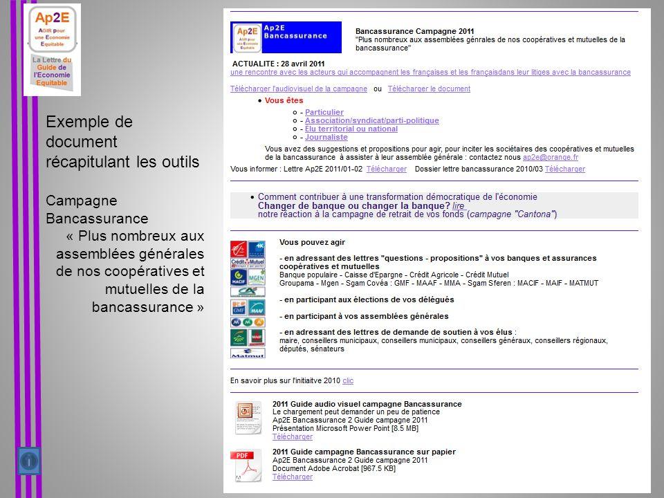Exemple de document récapitulant les outils