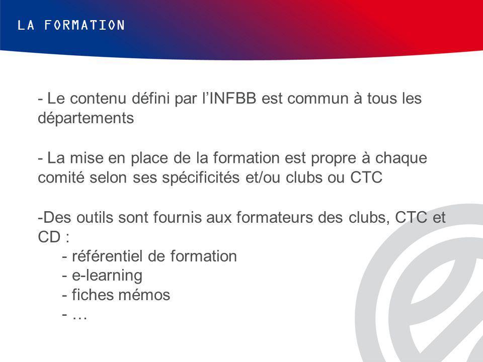 - Le contenu défini par l'INFBB est commun à tous les départements