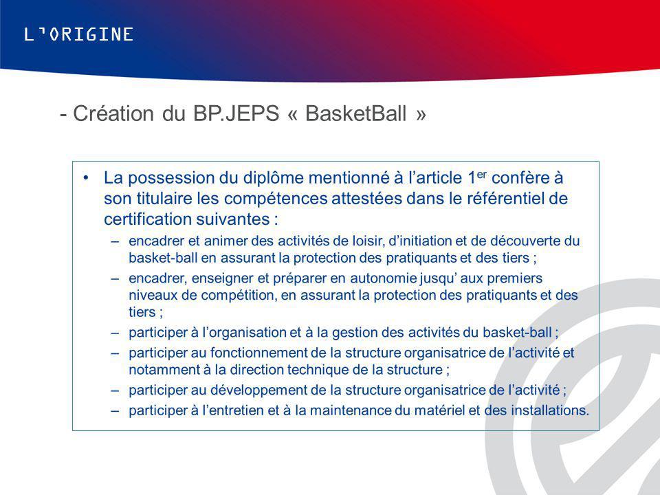 - Création du BP.JEPS « BasketBall »