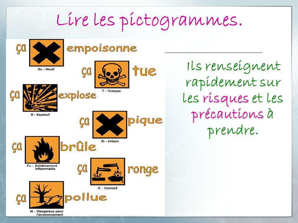 Lire les pictogrammes. Ils renseignent rapidement sur les risques et les précautions à prendre.