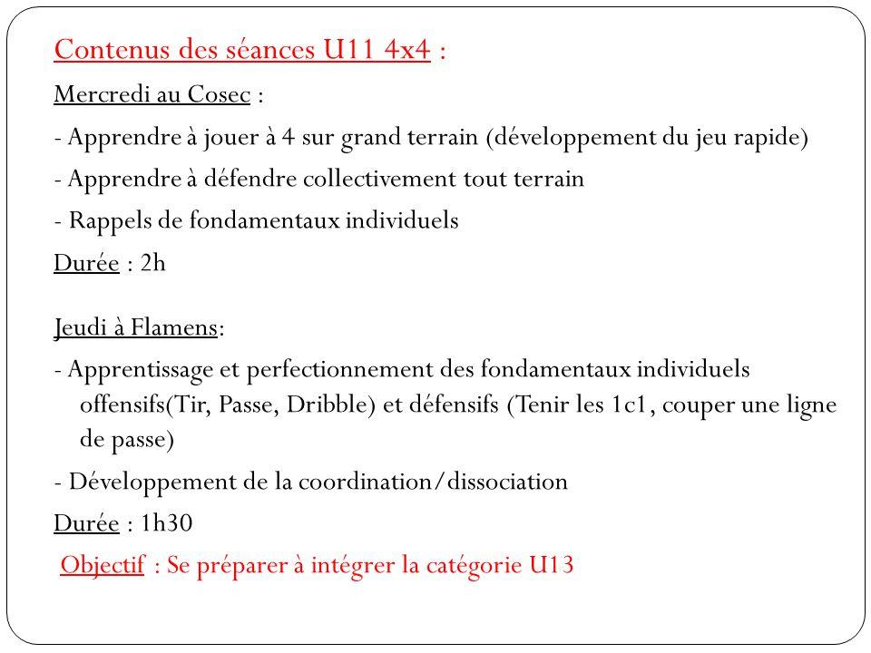 Contenus des séances U11 4x4 :