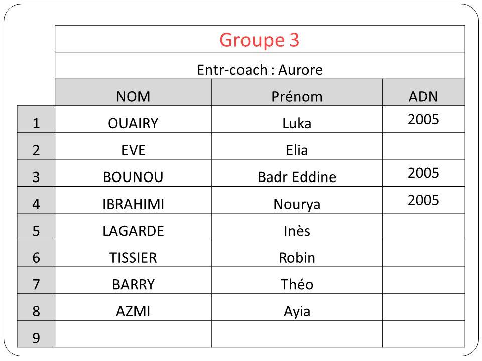 Groupe 3 Entr-coach : Aurore NOM Prénom ADN 1 OUAIRY Luka 2005 2 EVE