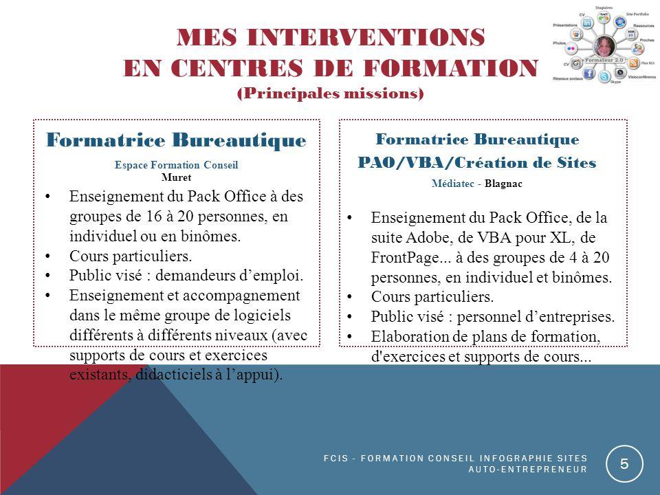MES Interventions en Centres de formation (Principales missions)