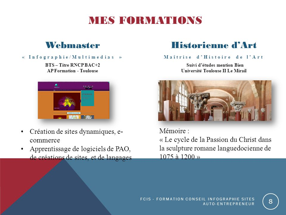 MES FORMATIONS Webmaster Historienne d'Art