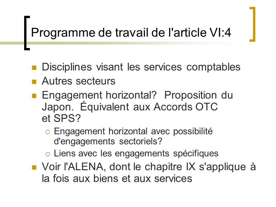 Programme de travail de l article VI:4