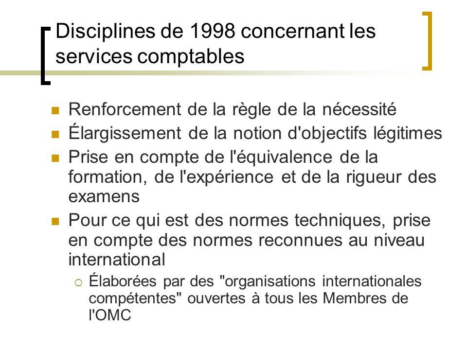 Disciplines de 1998 concernant les services comptables