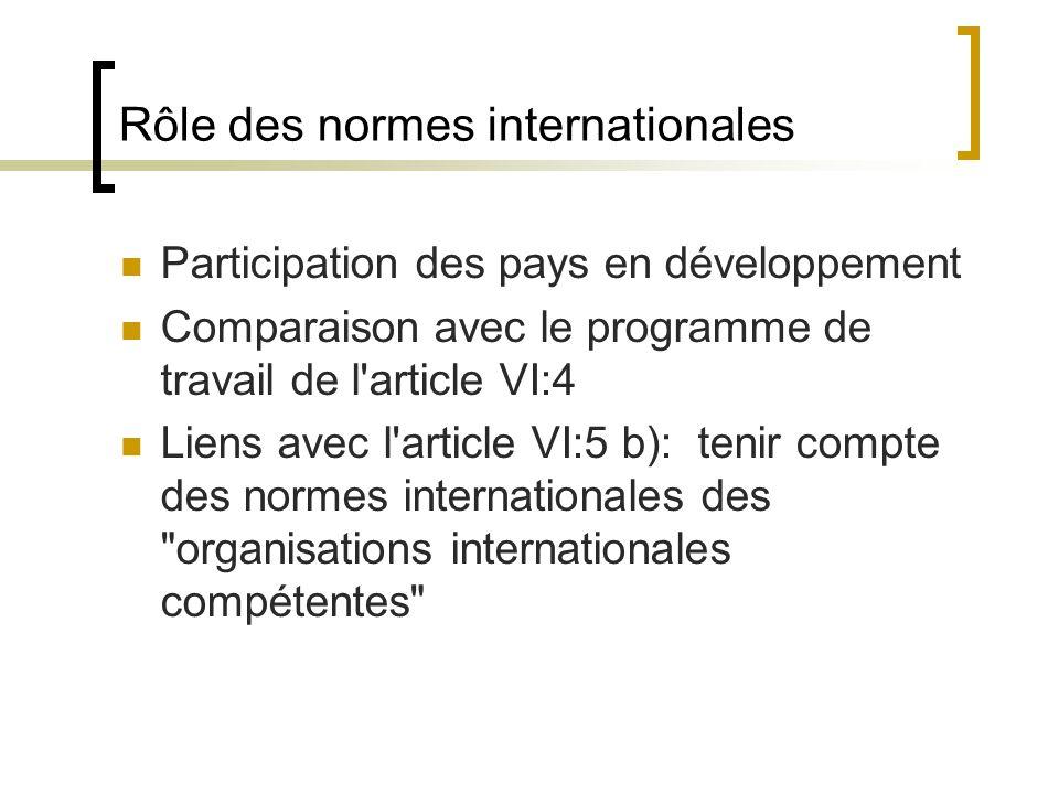 Rôle des normes internationales