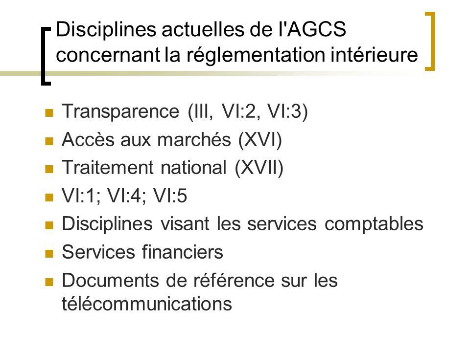 Disciplines actuelles de l AGCS concernant la réglementation intérieure