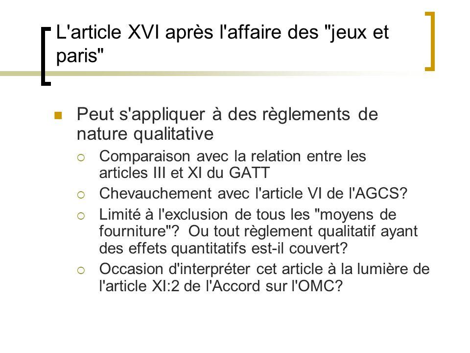 L article XVI après l affaire des jeux et paris
