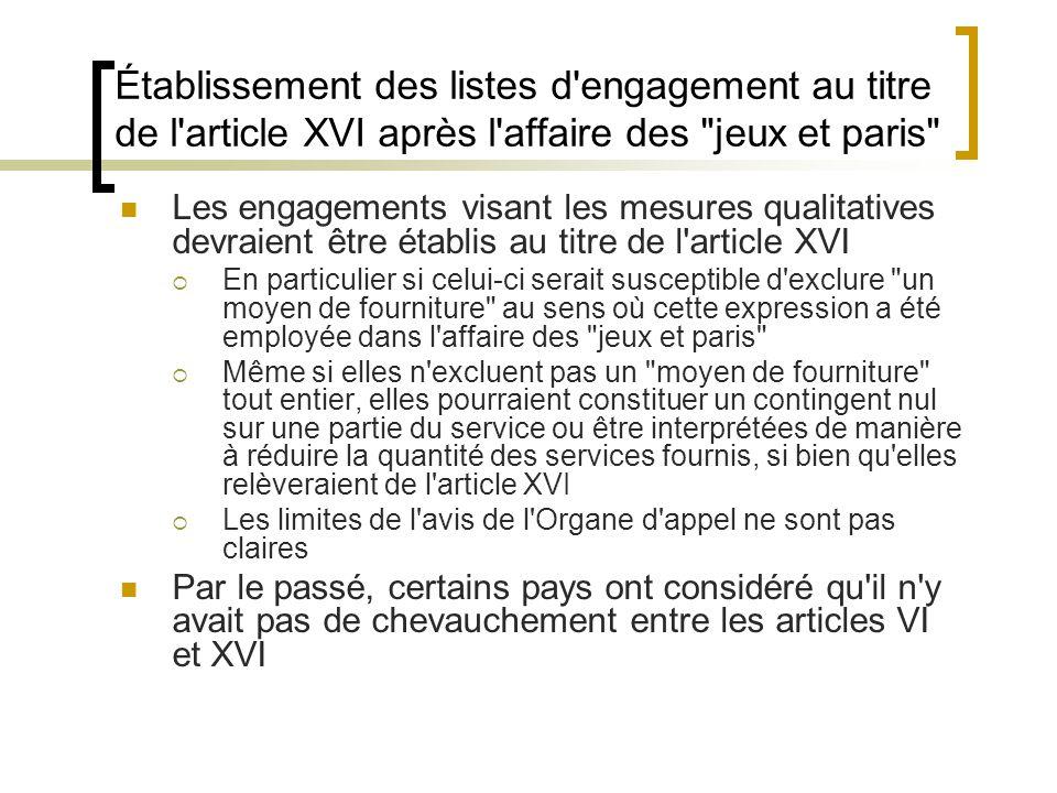 Établissement des listes d engagement au titre de l article XVI après l affaire des jeux et paris