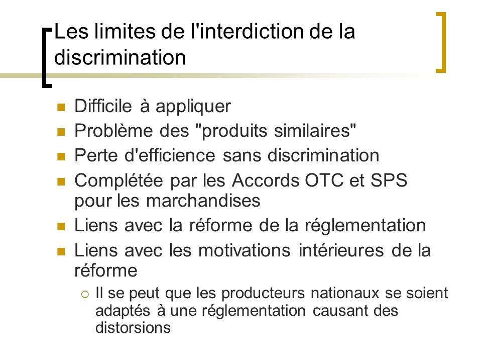 Les limites de l interdiction de la discrimination